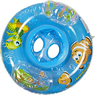 Swim School Aquarium Baby Pool Float, Baby Boat with Activity Centers, Safety Seat, Inflatable Pool Float, 6 to 18 Months, Blue