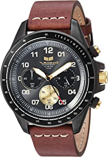 Vestal 'ZR2' Quartz Stainless Steel and Leather Casual Watch, Color:Brown (Model: ZR243L27.BRWH)