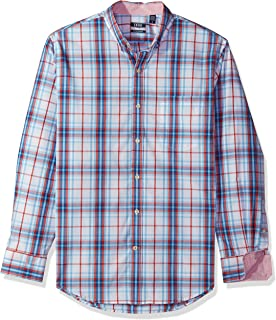 IZOD Men's CLEARANCE Button Down Long Sleeve Stretch Performance Plaid Shirt