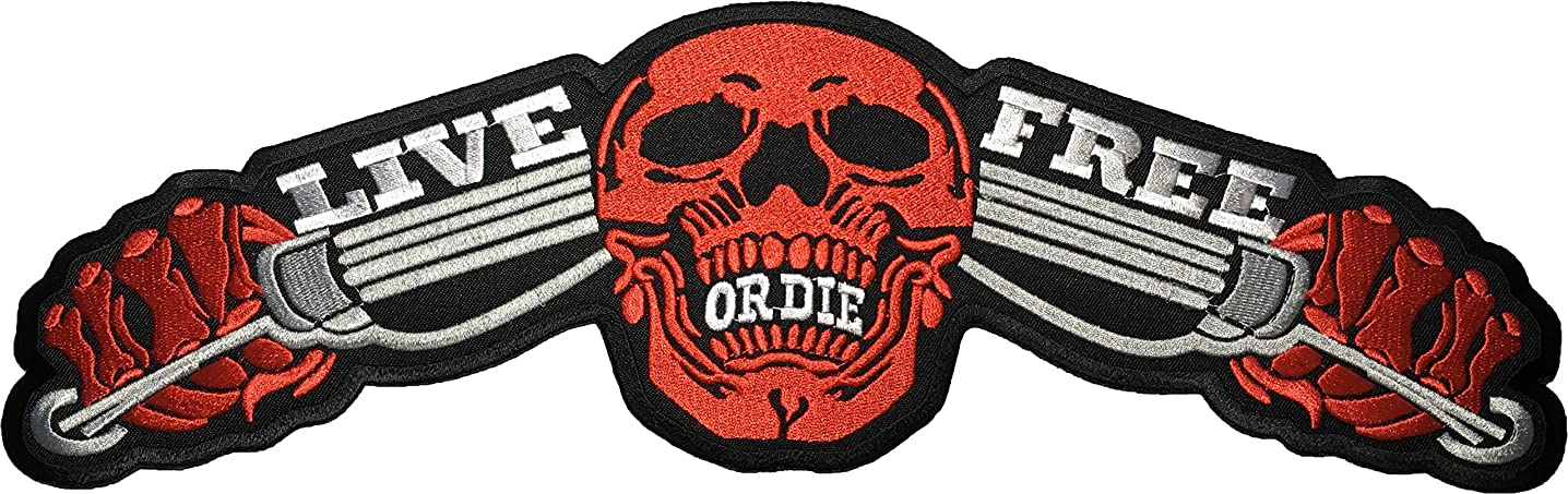 [Large Size] Papapatch Live Freedom or Die Skull Ghost Biker Rider Motorcycle Chopper Jacket Vest Costume Sewing on Iron on Embroidered Applique Patch - Red (IRON-LIVE-FREE-SKULL-RED-LARGE)