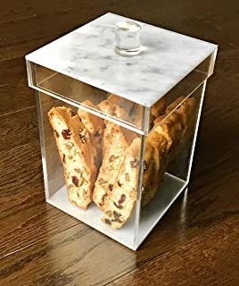 Acrylic Beautiful Jar Container - Acrylic Cookie Jar - MARBLE DESIGN LUCITE - Use as a Cookie Jar, Storage Container for ANYTHING - Make a Perfecft Gift For ANYONE