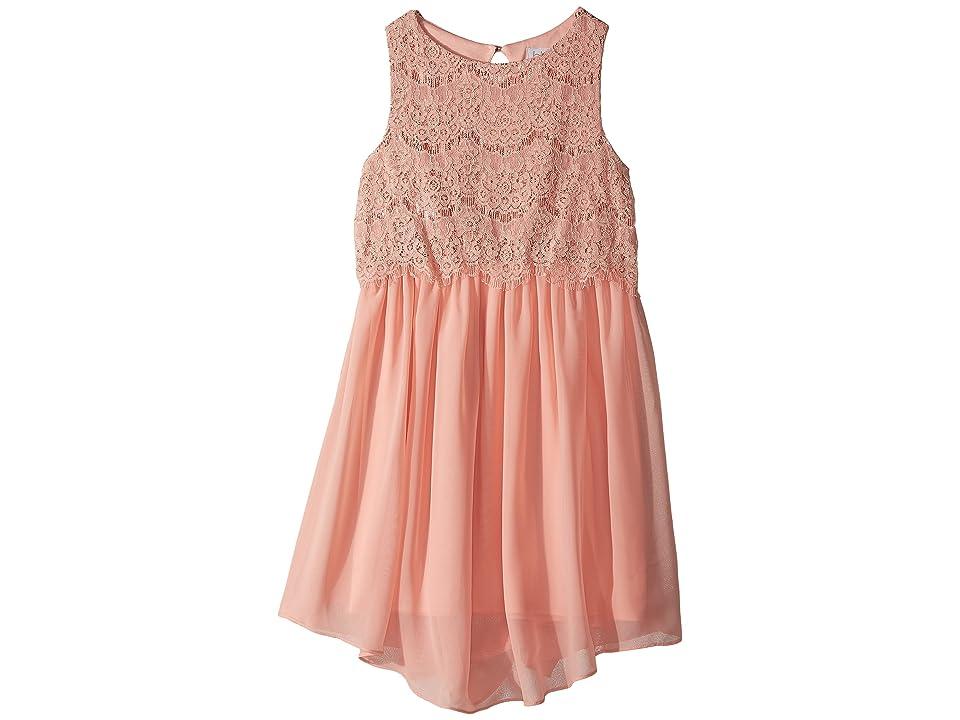 Us Angels Sleeveless Lace Popover Dress w/ V-Hemline (Big Kids) (Blossom) Girl