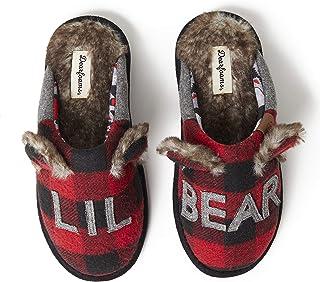 Women's Adult Lil Bear Buffalo Plaid Scuff Slipper