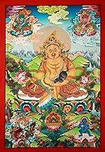 Superfine Tibetan Buddhist Deity Kubera - Brocadeless Thangka - Tibetan Thangka Painting