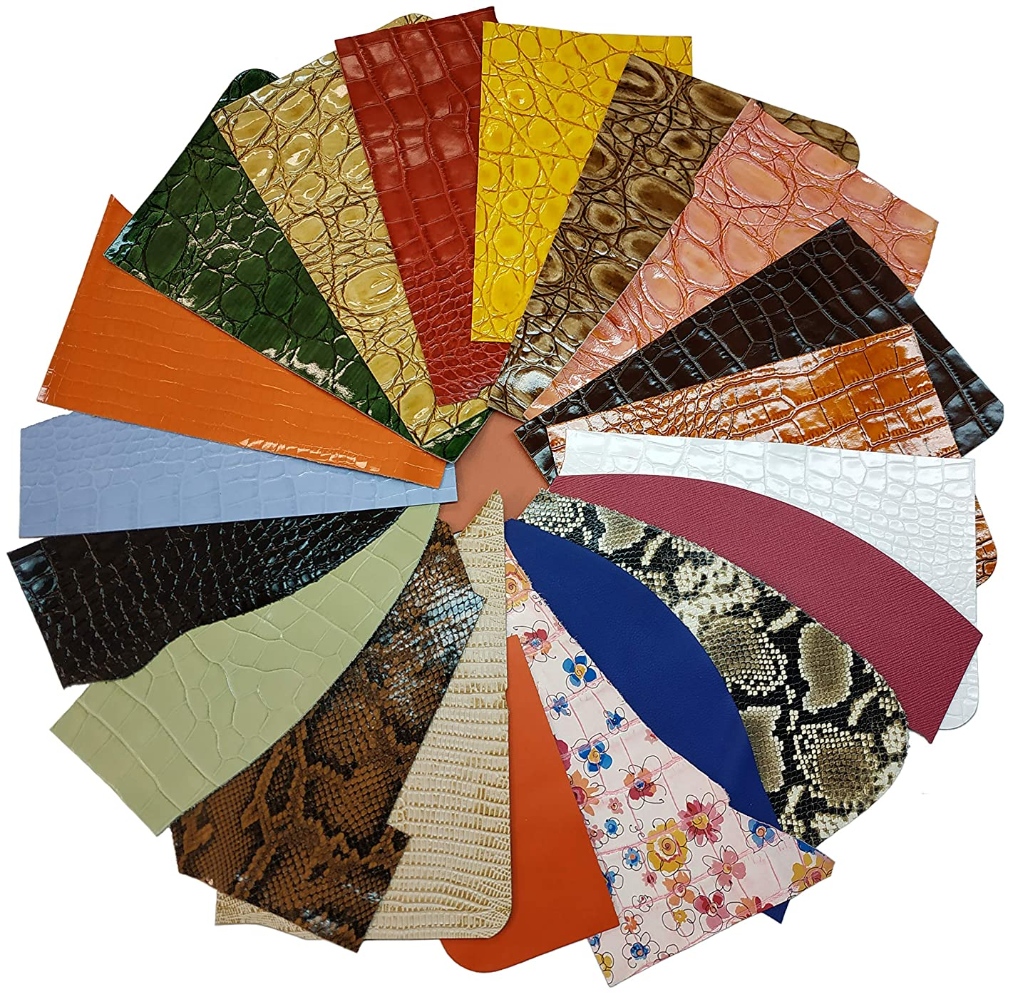 Upon Leather - Embossed and Printed Leather Scraps 1 Pound Small & Medium Pieces | 6-7 Square Feet Cowhide remnants for Crafts, Earrings, Jewelry | More Than 15 Pieces of Bright Happy Leather Colors.