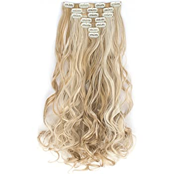 """OneDor 20"""" Curly Full Head Clip in Synthetic Hair Extensions 7pcs 140g (27XH613)"""