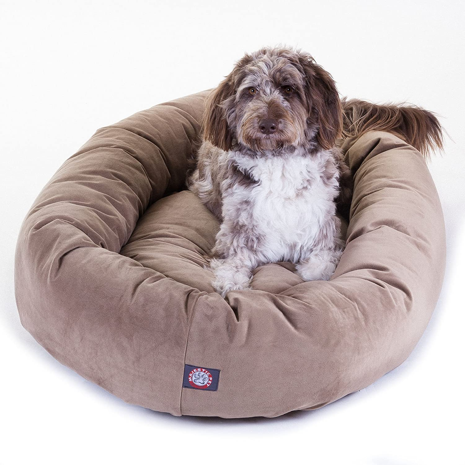 Majestic Pet ExtraLarge 52 Bagel Dog Pet Bed MicroSuede  Stone by Majestic Pet