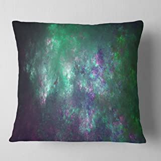Designart Green Starry Fractal Sky' Abstract Throw Living Room, Sofa, Pillow Insert + Cushion Cover Printed On Both Side 1...