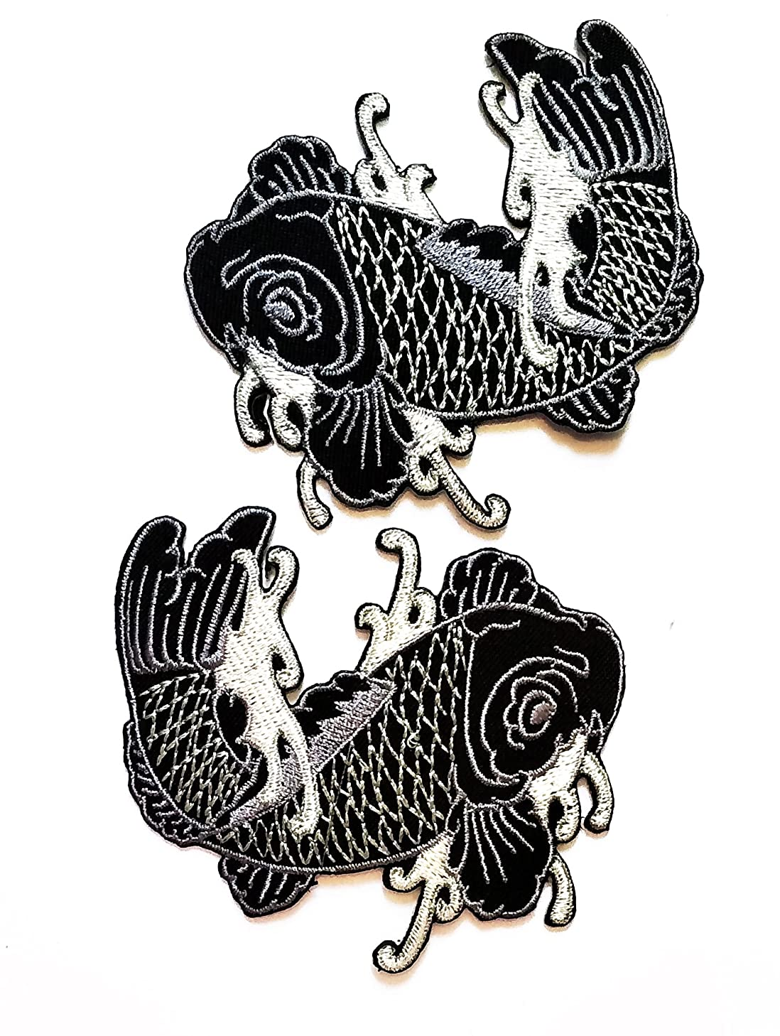Nipitshop Patches Set Black Fish Patch Japanese koi carp Fish Tattoo Japan Love Embroidered Applique Iron-on Patch for Clothes Backpacks T-Shirt Jeans Skirt Vests Scarf Hat Bag