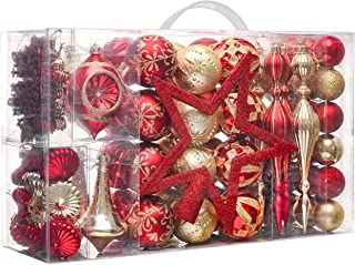 Valery Madelyn 100ct Luxury Red Gold Shatterproof Christmas Ball Ornaments Decoration Balls with Tree Topper for Christmas...