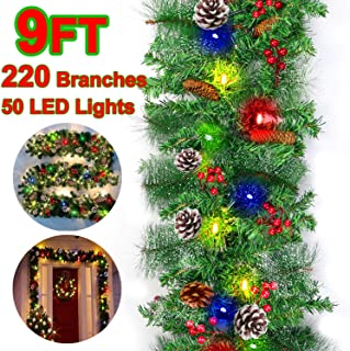 【Battery Operated】 9 Foot by 10 inch Christmas Garland 50 Colorful Lights 220 Pine Branches Garland Greenery with Snow Red Berries Pine Cones Indoor Outdoor Xmas Door Stairs Fireplace Decor
