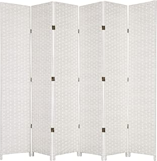 MyGift Folding Wood Room Divider, Standing 6-Panel Woven Privacy Screen, White