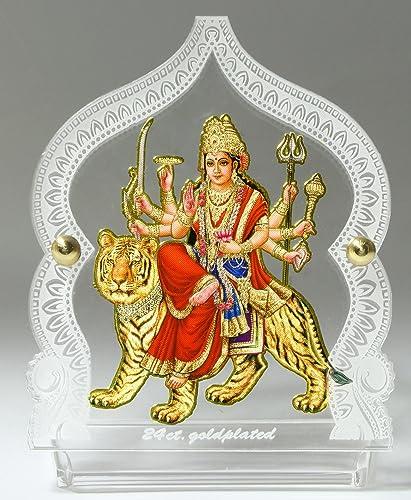 Eknoor Car Dashboard Idol- Goldplated- Durga ji with japa mala (Prayer Beads)