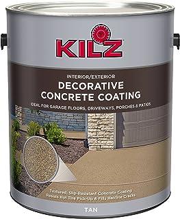 KILZ L378601 Interior/Exterior Slip-Resistant Decorative Concrete Paint, 1 Gallon, Tan