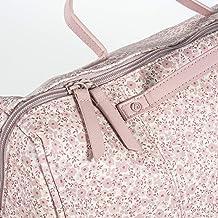 Bolso Maternidad FLOWER MELLOW color rosa. Polipiel con estampado en flores. Asa larga y cortas.