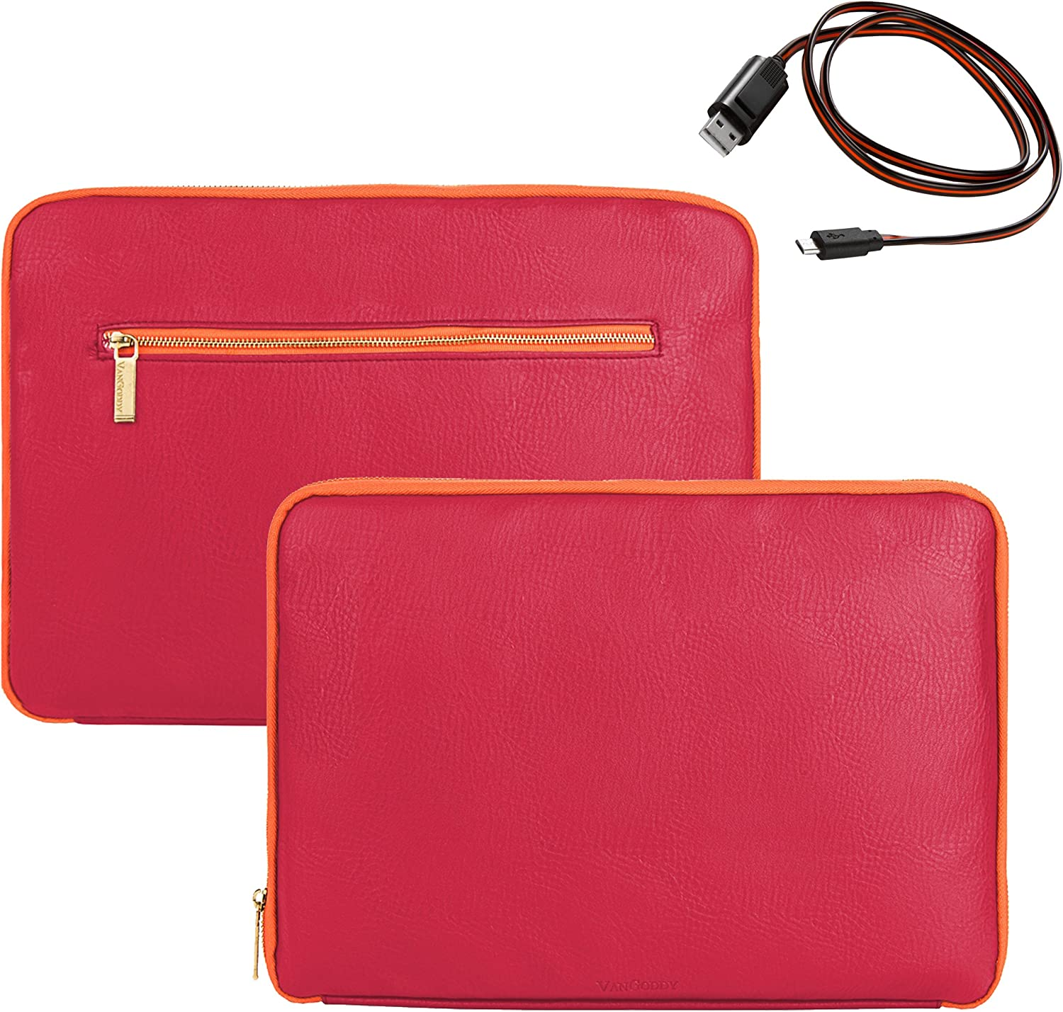 Gigabyte U Series U2142 11.6 inch Magenta and Orange with Micro USB Cable Vangoddy Irista 15 Inch PU Leather Tablet Padded Sleeve for Ematic Dual Core 13.3 inch