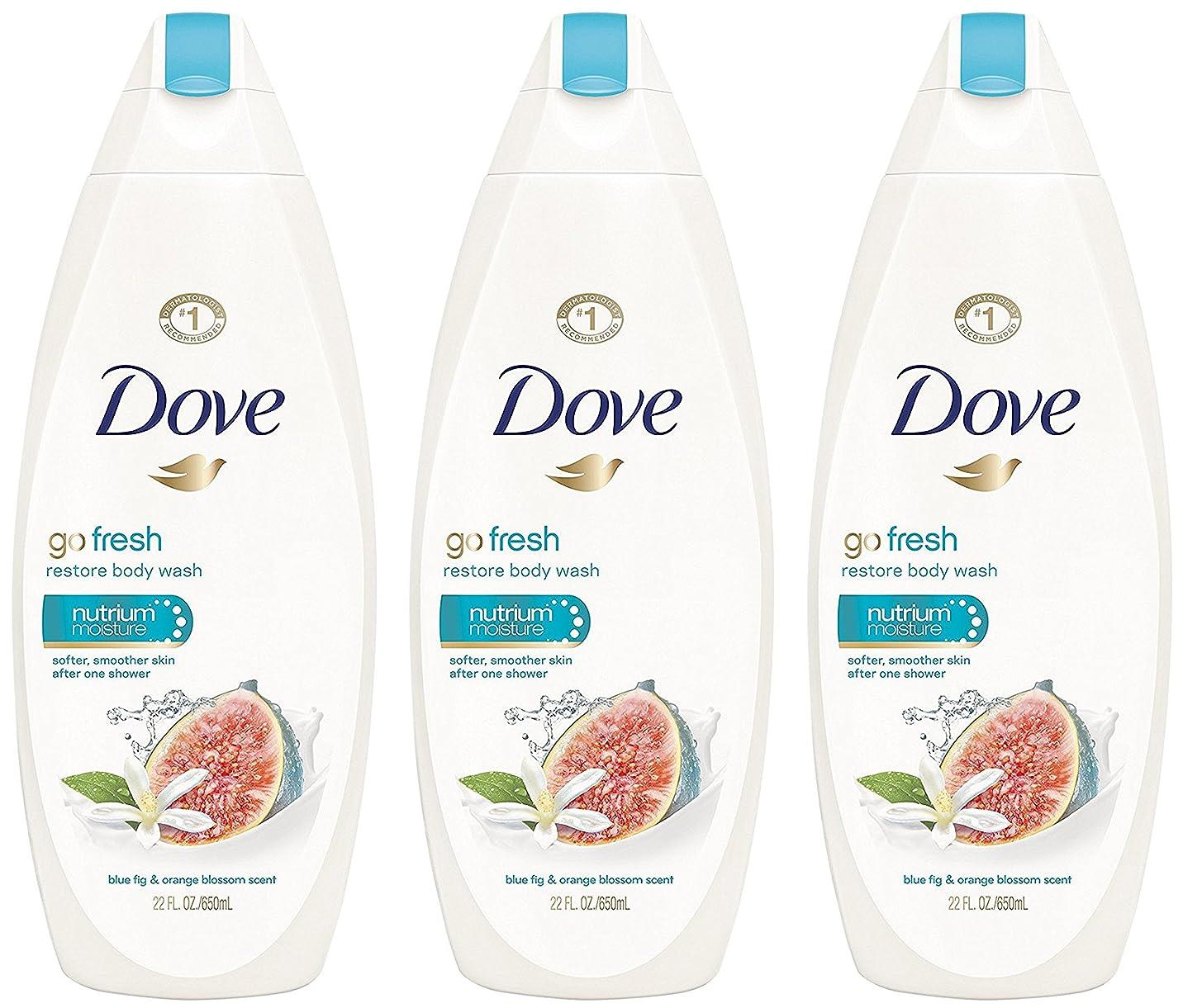 ジュニア寝る手首Dove ボディウォッシュ - 復元 - - 当期純重量 - ブルー図&オレンジブロッサム香りでフレッシュます。ボトルパー22液量オンス(650 ml)を - 3本のボトルのパック