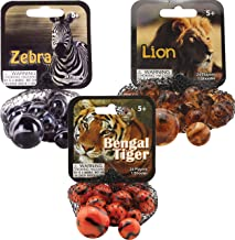 Mega Marbles 3 Pack - Zebra, Lion, & Bengal Tiger Game Nets - Includes 1 Shooter Marble & 24 Player Marbles Per Net