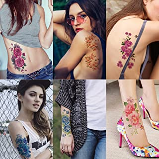 Kotbs 6 Sheets Floral Temporary Tattoo - Over 30+ Tattoos - Sexy Tattoo Sticker for Women & Girl Fake Tattoo (Chrysanthemum, Rose, Peony)
