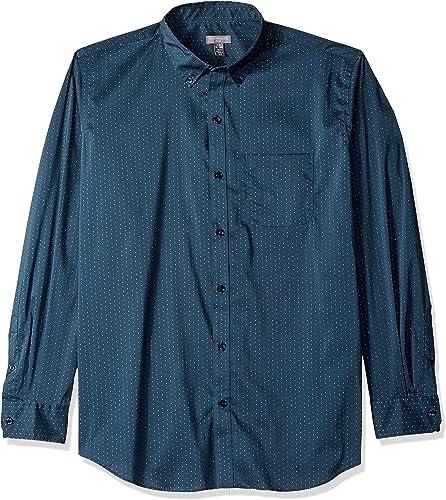 Van Heusen Hommes's Flex manche longue Stretch Shirt, Turquoise Seabed Minidot, XX-grand