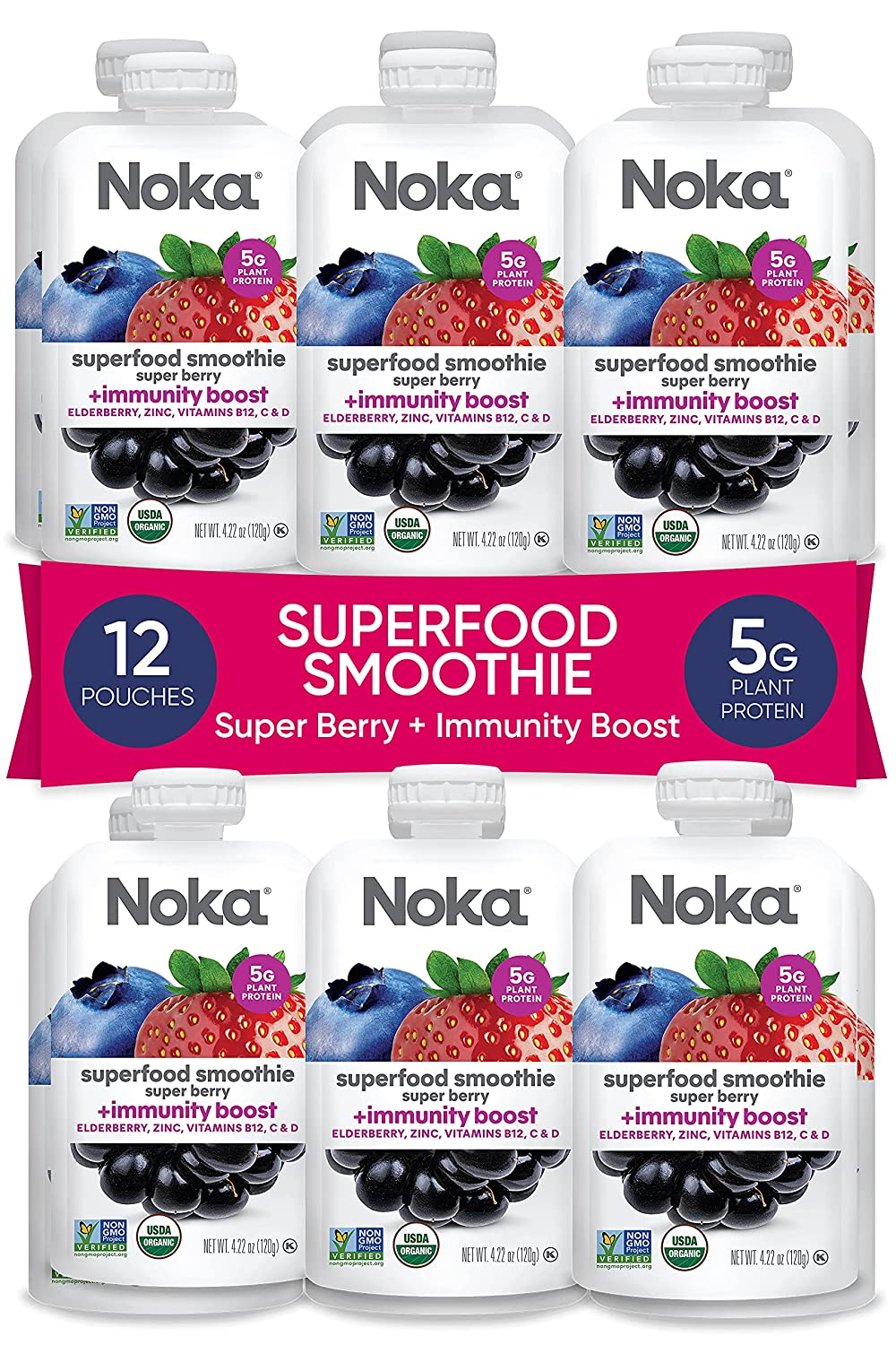 NOKA Limited time for free shipping Sale item Superfood Immune Support Smoothie 12 Or Berry Pack Super