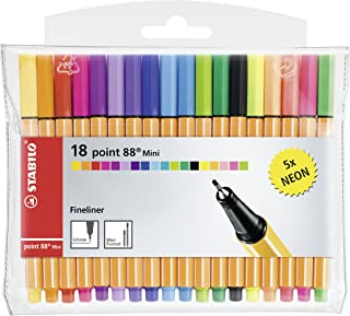 Stabilo Point 88 Mini Fineliner Pens , Set of 18 , Multicolored