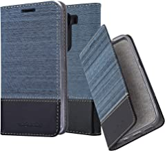 Cadorabo Book Case Works with LG V10 in Dark Blue Black – with Magnetic Closure, Stand Function and Card Slot – Wallet Etui Cover Pouch PU Leather Flip