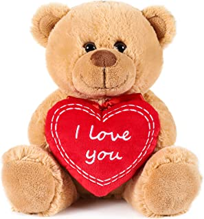 BRUBAKER Teddy Bear with Red Heart - I Love You - 9.84 Inches - Cuddly Plush Toy - Stuffed Animal - Brown