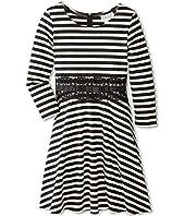 Us Angels - 3/4 Sleeve Ponte Fit & Flair w/ Lace Waist Dress (Big Kids)