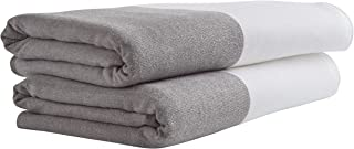 Rivet Contemporary Striped Cotton Bath Towels, Set of 2, Charcoal