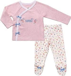 Asher & Olivia Footed Pants Long Sleeve Kimono Shirt 2 Pc Baby Girl Layette Set