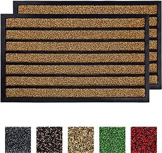"""Buganda 2-Pack Durable Rubber Striped Door Mat, Indoor Outdoor, Heavy Duty Easy Clean Doormat, Non-Slip Floor Mat for Entry Patio(17""""x 29"""", Brown)"""