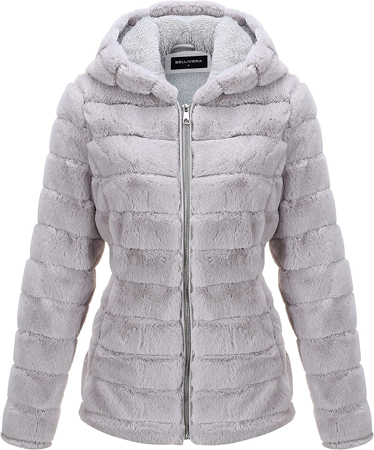 Bellivera Women's Faux Shearling Shaggy Coat,Fashion Long Sleeve Zip Up Jacket Hooded for Spring Fall and Winter