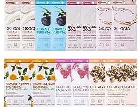 K- Mystique Collection | Bundle Kit of Gold, Rose, Vitamin C Facial Masks | 24K Gold Cream & Serum | Collagen/Gold Under Eye Mask | Charcoal Nose Strips (2 of Each Product)
