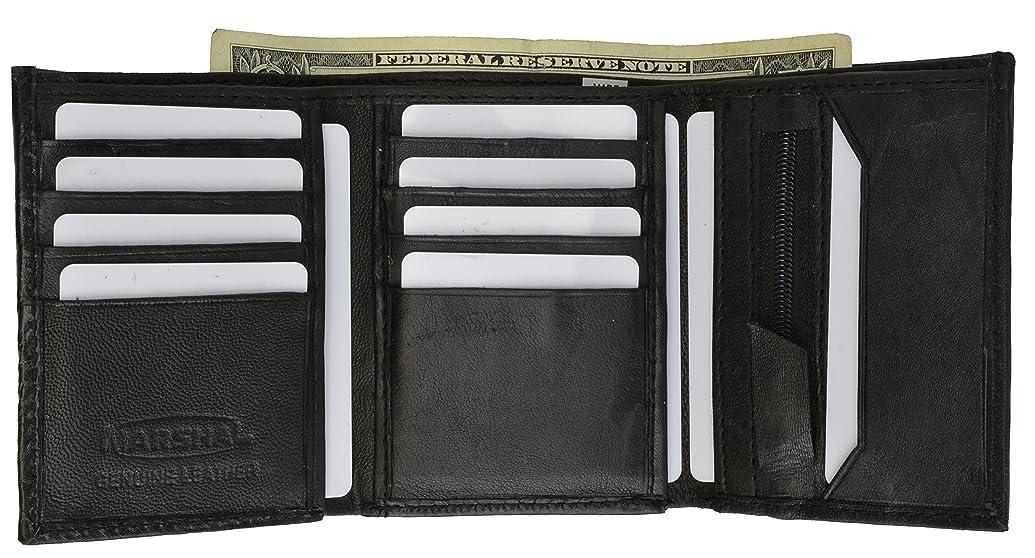 眩惑する差し引く天才100?%本革3つ折りメンズ財布ブラック# 1555