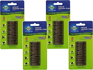 (4 Pack) PetSafe Busy Buddy Refill Ring Dog Treats for Select Busy Buddy Dog Toys, Natural Rawhide, Size A/X-Small to Small