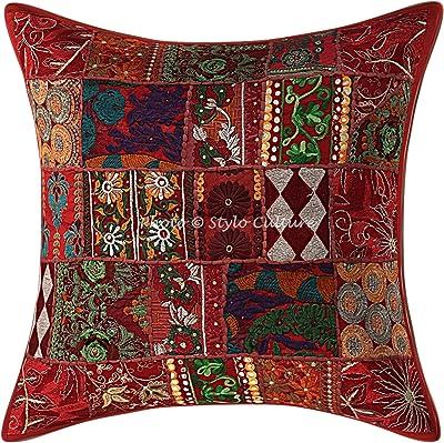 Stylo Culture Indien Décoratif Coton Housse De Coussin 60x60 cm Bordeaux Indiennes Patchwork 24 x 24 Pouces Décor Lounge Bohémien Abstrait Carré Taie d'oreiller