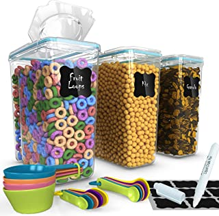 Top Quality Cereal Containers 3 Pc (16.9 Cup/135.2oz) + FREE 14 Measuring Cups/Spoons + 18 Labels & Marker - Airtight Dry Food Keepers - Great For Cereal, Flour, Sugar - BPA Free Dispenser