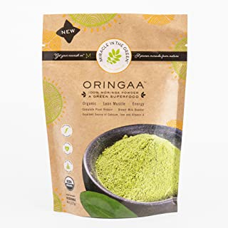 Moringa Powder - Anti-Aging - Gluten-Free -   by Miracle in The Green. USDA Certified Organic. Raw Superfood and Multi-Vitamin. for Green Juice, Smoothies and Food. Gives Energy. 8 oz