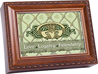 Cottage Garden Love Loyalty Woodgrain Music Box / Jewelry Box Plays Irish Lullaby