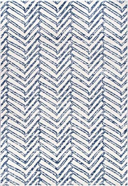 nuLOOM Rosanne - Alfombra geométrica, 6 pies 7 Pulgadas x 9 pies, Color Azul