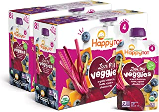 Happy Family Organics, Happy Tot, Stage 4, Love My Veggies, Organic Bananas, Beet, Squash & Blueberries, 4 Pouches, 4.22 o...