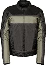NexGen Men's Oxford Vented Textile Jacket with Removable Armor (Black/Gray, XX-Large)