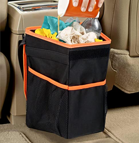 APPUCOCO Car and Motorbike Trash Bin Organizer with Lid and Storage Pockets - Black