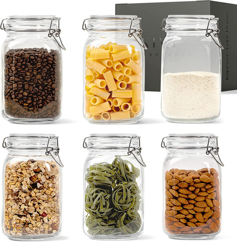 KIVY® Juego de Tarros de Cristal con Tapa [6 x 1500 ml] – Botes Cocina Almacenaje – Botes de Cocina de Vidrio con Tapa – Botes 1,5 litro – Frascos con Tapa – Frascos Cuadrados