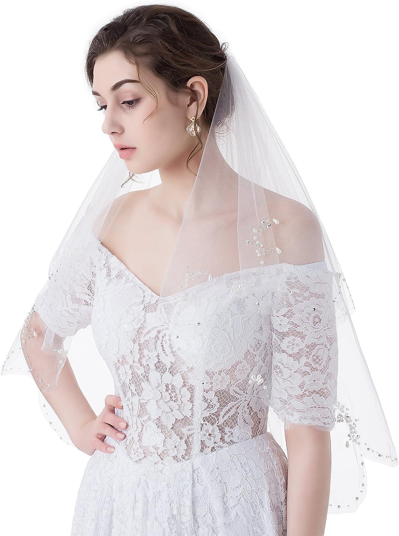 MariRobe 2 Tier Pearls Scallop Sequins Bridal Wedding Veil with Comb