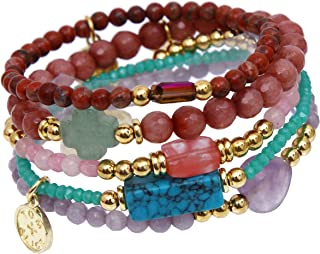 Beaded Bracelets for Women Stackable Handcut Natural Stones 5 pcs Ermish Stretch Set Bangle