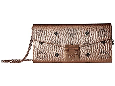 MCM Patricia Visetos Wallet on a Chain (Champagne Gold) Wallet Handbags