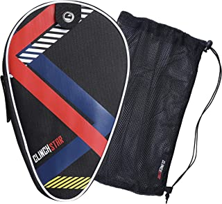 Clinch Star Ping Pong Paddle Case for Table Tennis Organizer Carry Cover for Equipment - Hooks to Table (FITS 2 Rackets 2 Balls) and Mesh Bag (FITS at Least 50) Balls Storage Set