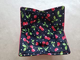 Cherries Polka Dot Microwave Bowl Cozy Vintage Inspired Reversible Microwave Potholder Retro Bowl Buddy Black Red Kitchen Linens 50s Diner Handmade Housewarming Hostess Teacher Gifts Under 10